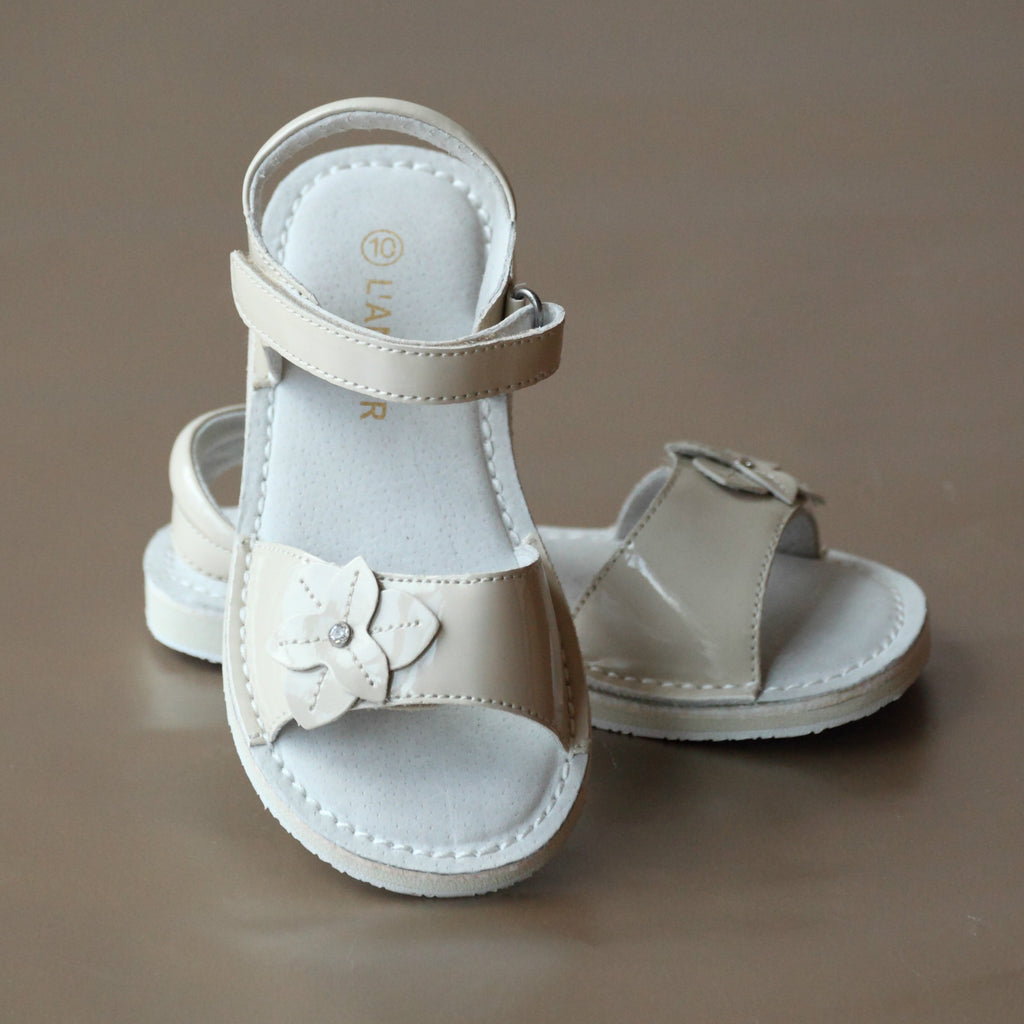 L'Amour Girls Patent Cream Iris Flower Open Toe Sandal