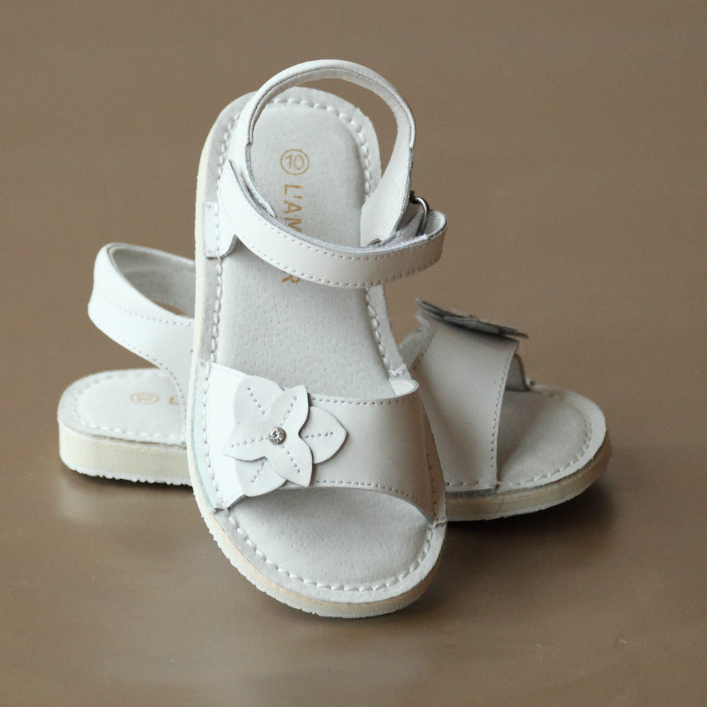 L'Amour Girls White Iris Flower Open Toe Sandal