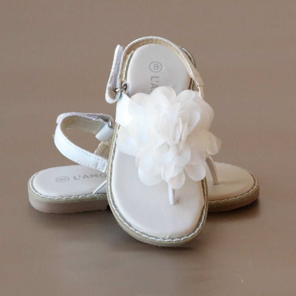 L'Amour Girls White Organza Rosette Thong Sandal