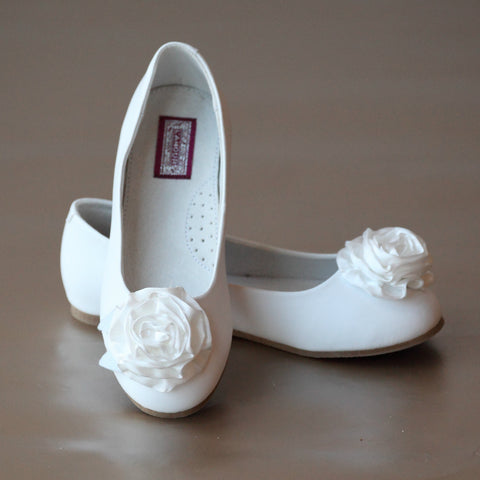 L'Amour Girls Satin Rosette Leather Flower Girl Flat