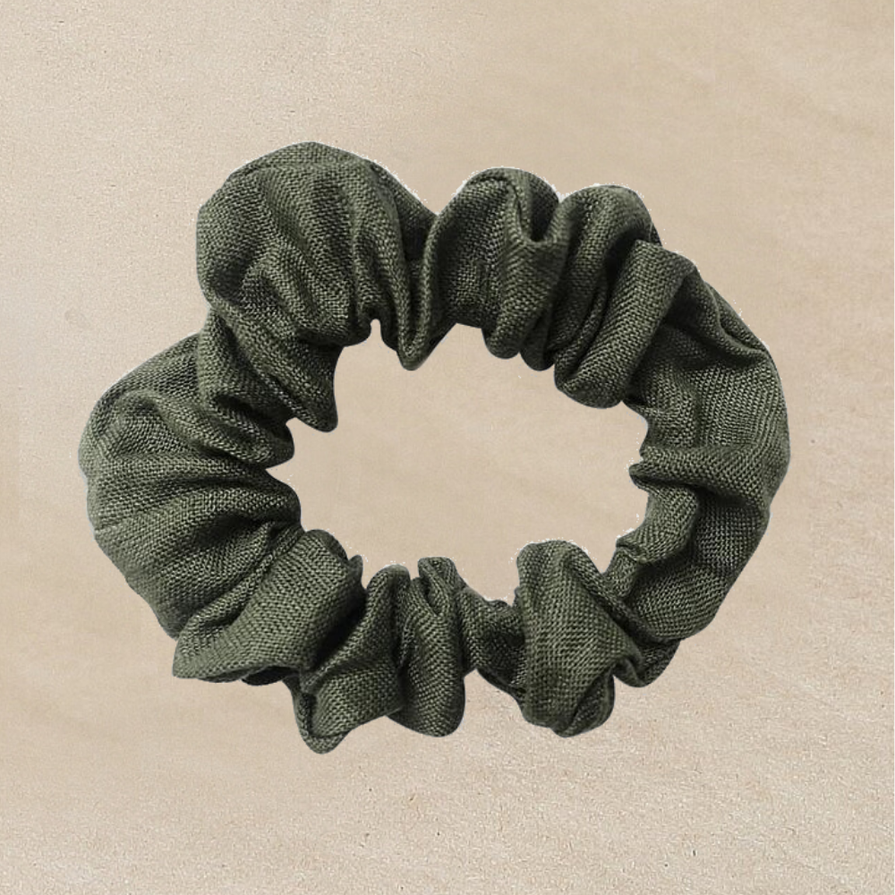 Girls Moss Green Linen Scrunchie for Hair - Petitfoot.com
