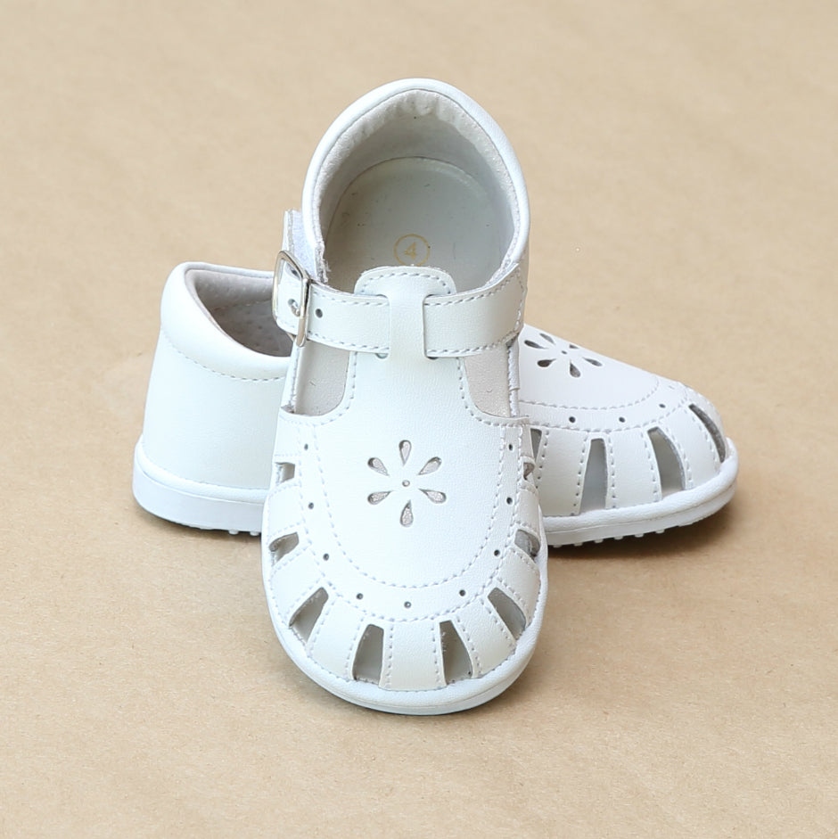 Angel Baby Girls Shelby Caged White Leather Sandal - Petitfoot.com