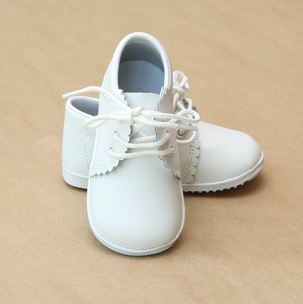 Angel Baby Lacey Girls Scalloped Lace Up White Bootie Shoe - Petitfoot.com