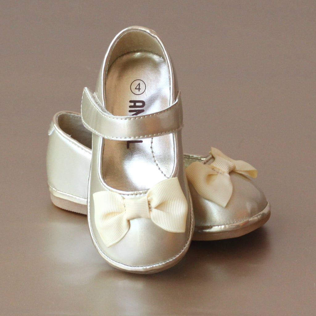 Angel Baby Girls Gold Grosgrain Bow Mary Jane