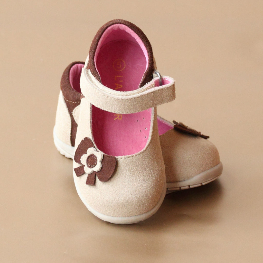 L'Amour Girls Cream Bow Cut Out Nubuck Mary Jane