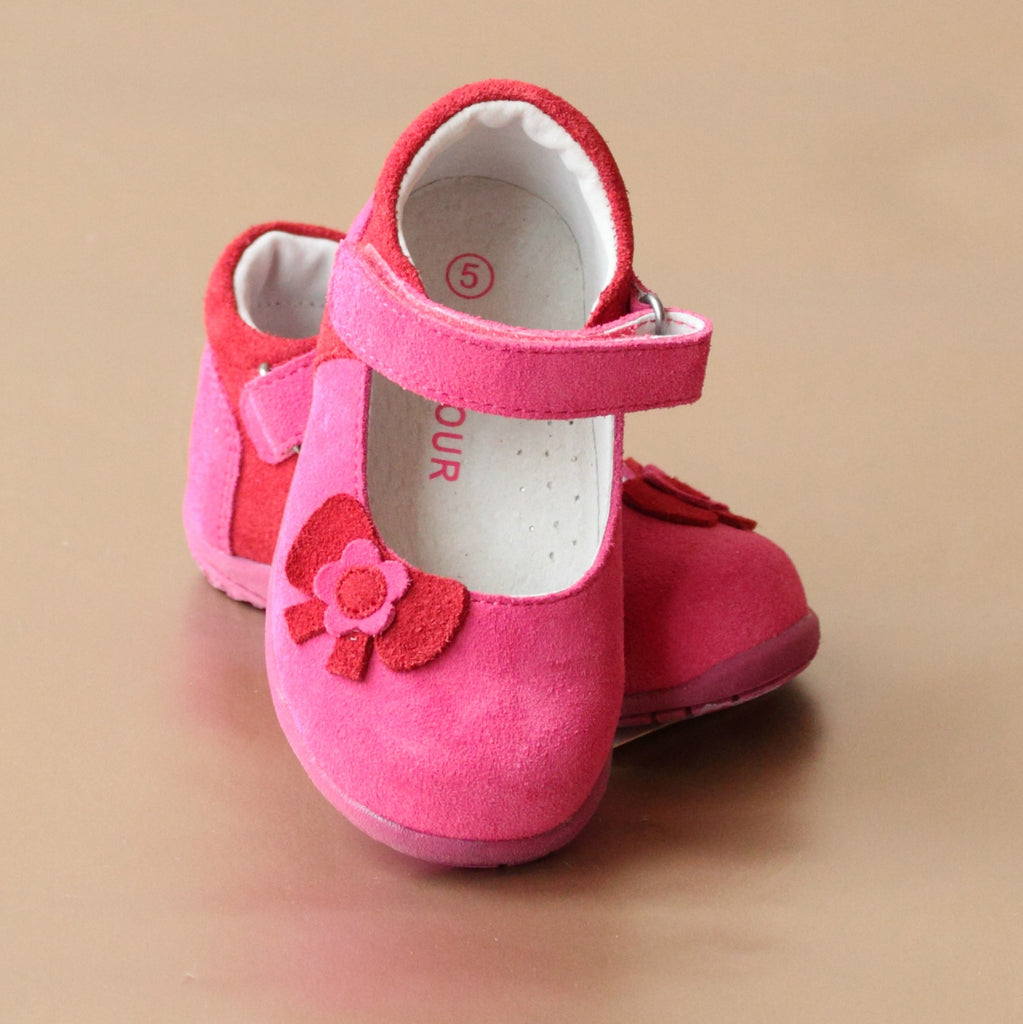 L'Amour Girls Fuchsia Bow Cut Out Nubuck Mary Jane