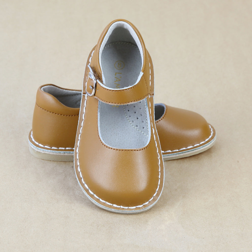 Toddler Girls Vintage Mustard Honey Brown Leather Mary Jane Shoes - Petitfoot.com