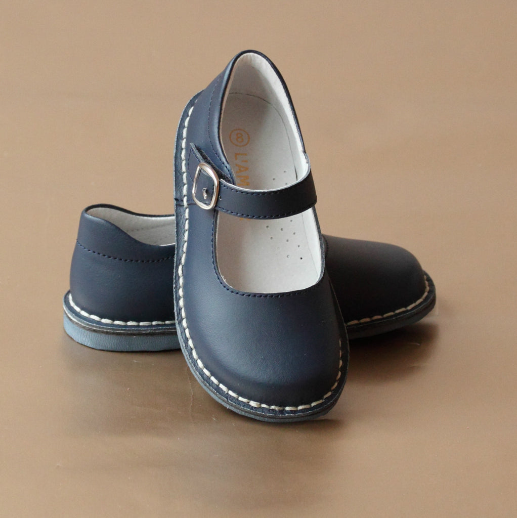 L'Amour Girls Navy Classic Stitch Down Mary Jane