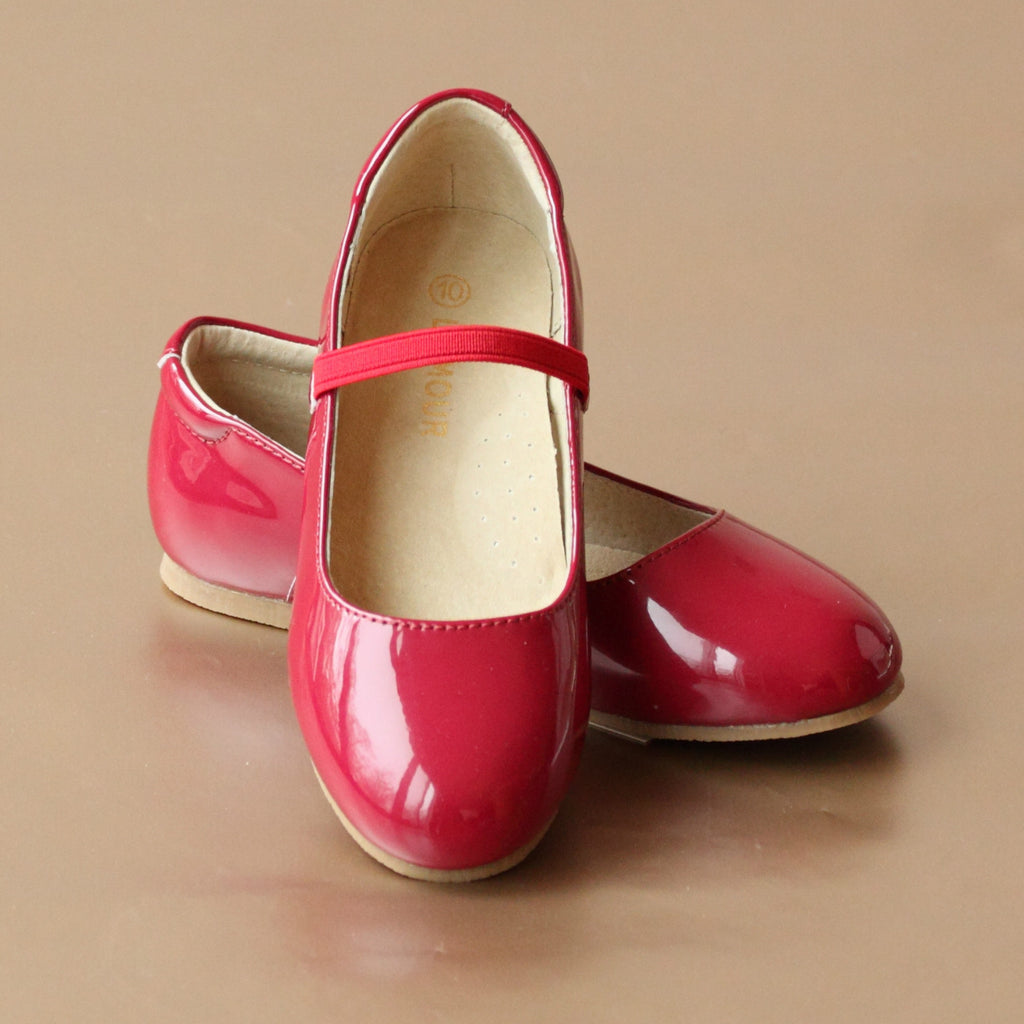L'Amour Girls Classic Red Leather Ballet Flat