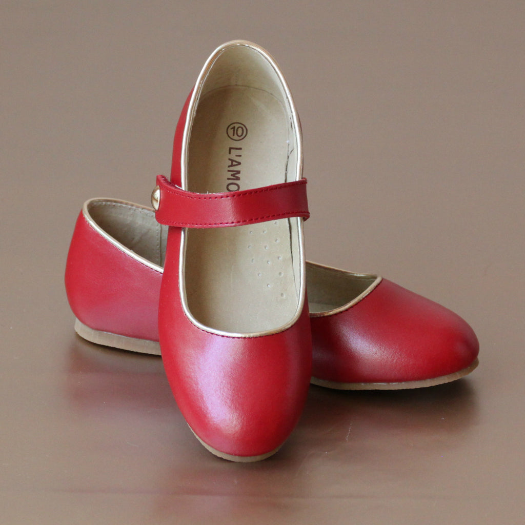 L'Amour Red Ankle Strap Ballet Flat