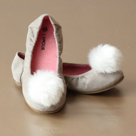 L'Amour Girls Fur Pom Pom Flat