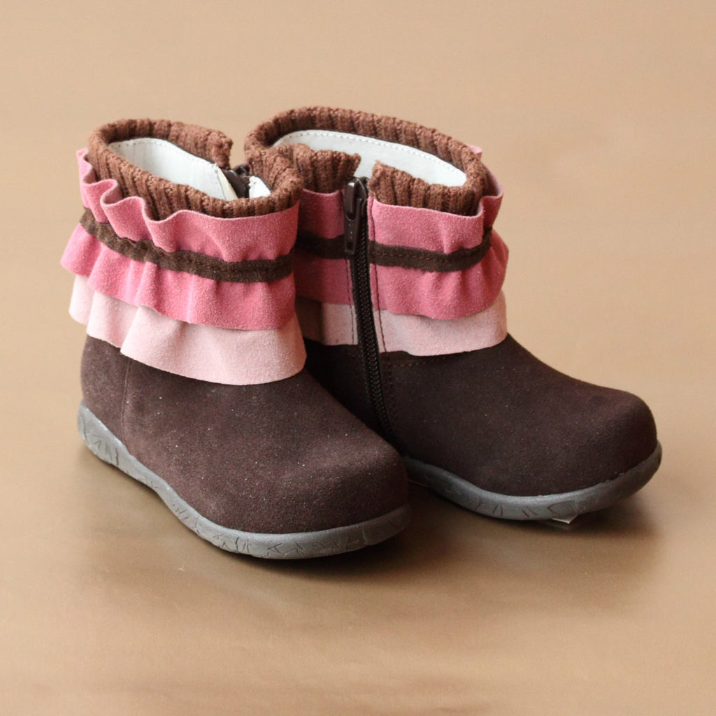 L'Amour Girls Knit Collar Brown Boot