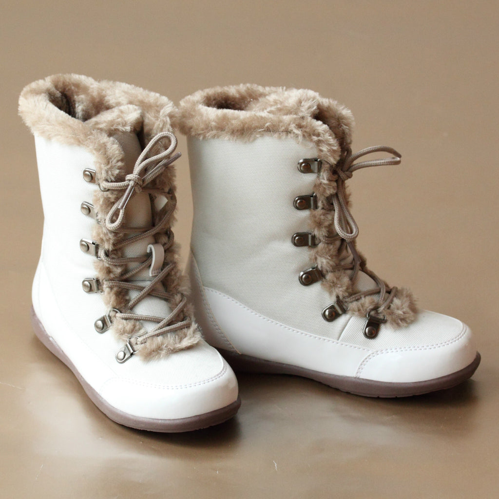 L'Amour Girls Cream Winter Fashion Boot