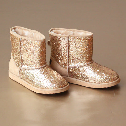 L'Amour Girls Glitter Faux Fur Boot