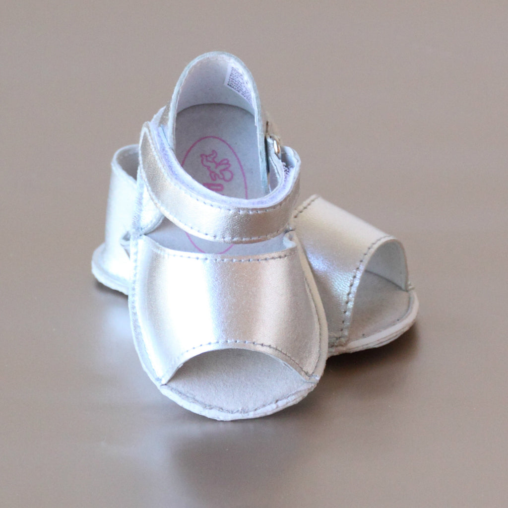 Angel Baby Girls Silver Open Toe Crib Sandal