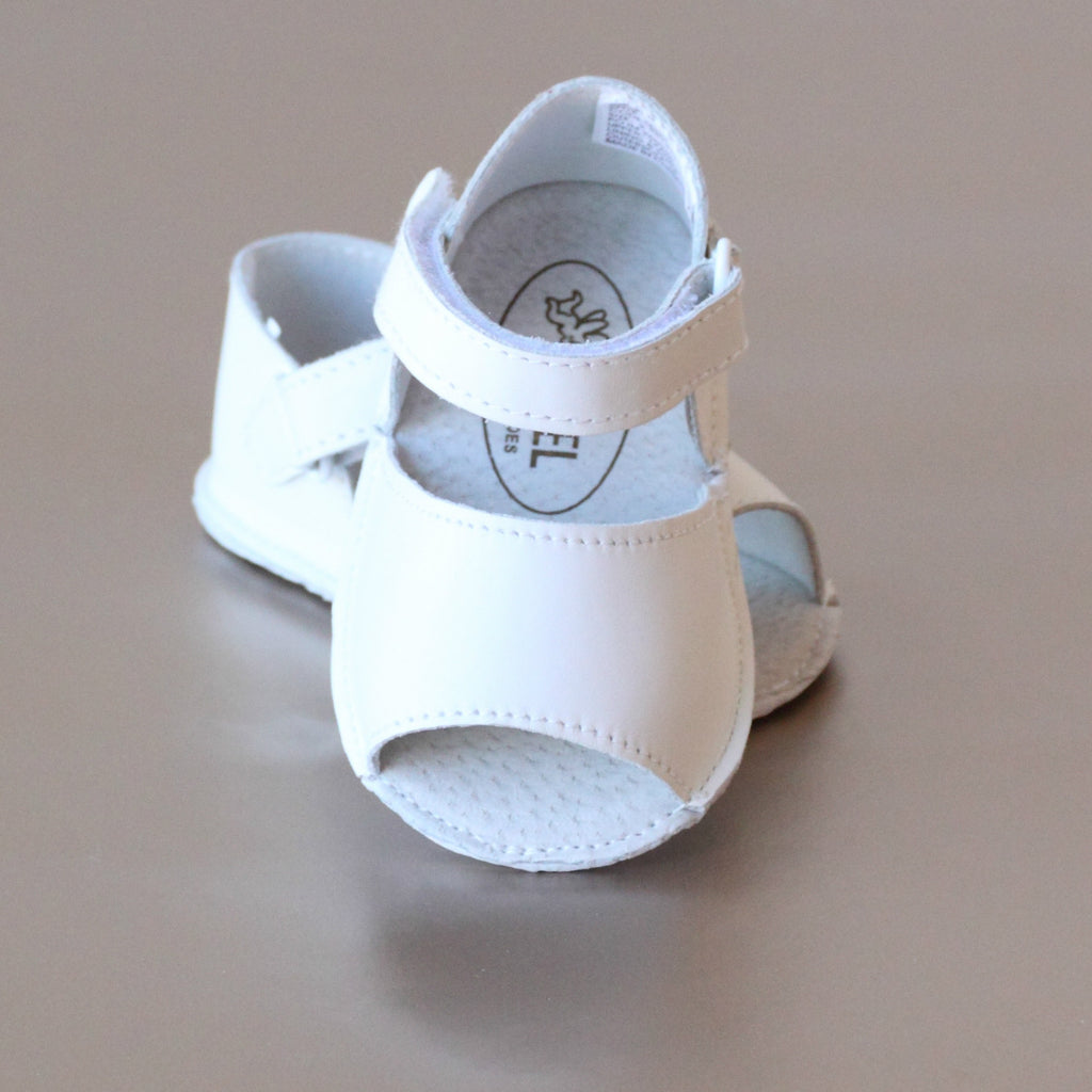 Angel Baby Girls White Open Toe Crib Sandal