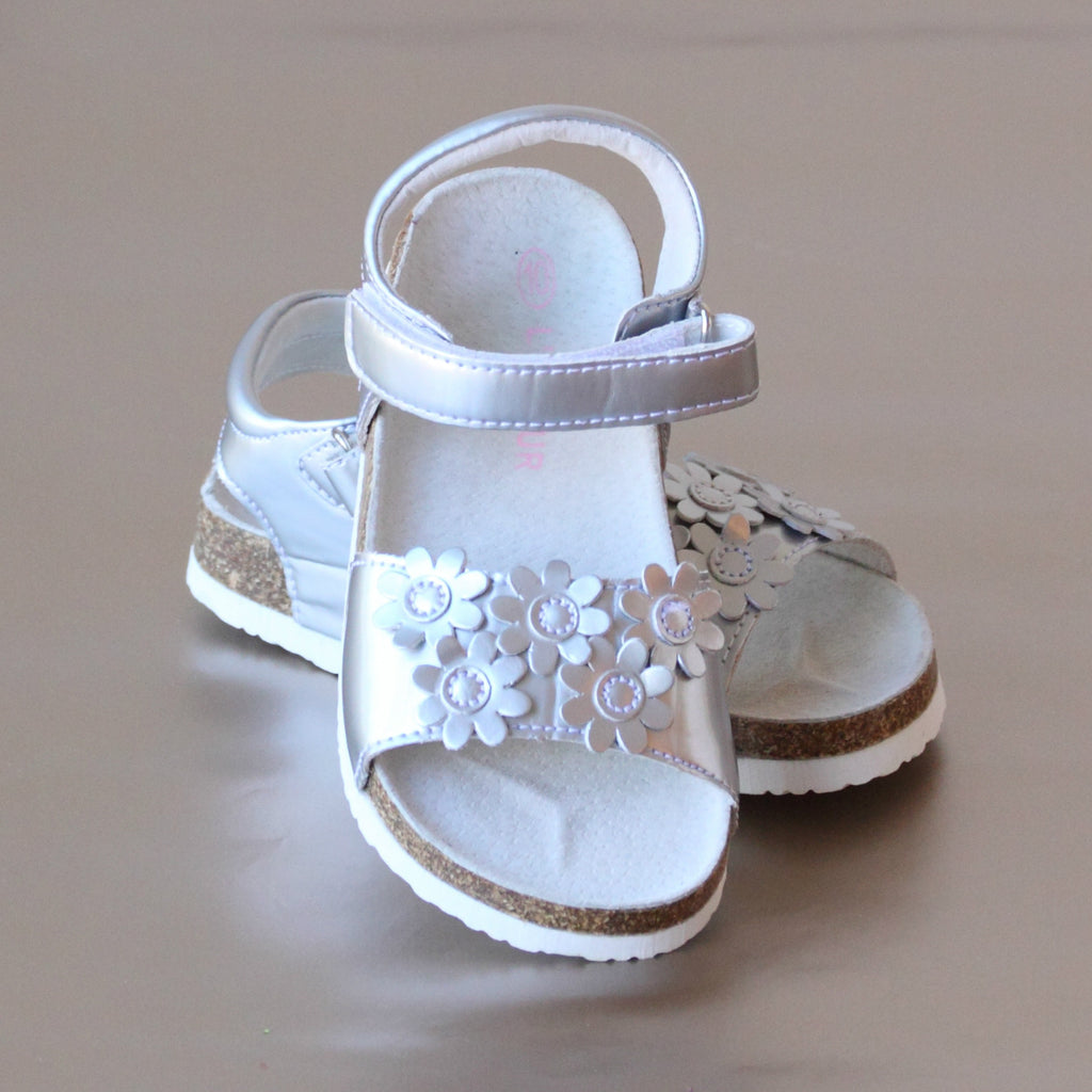 L'Amour Girls Silver Floral Cork Footbed Sandal