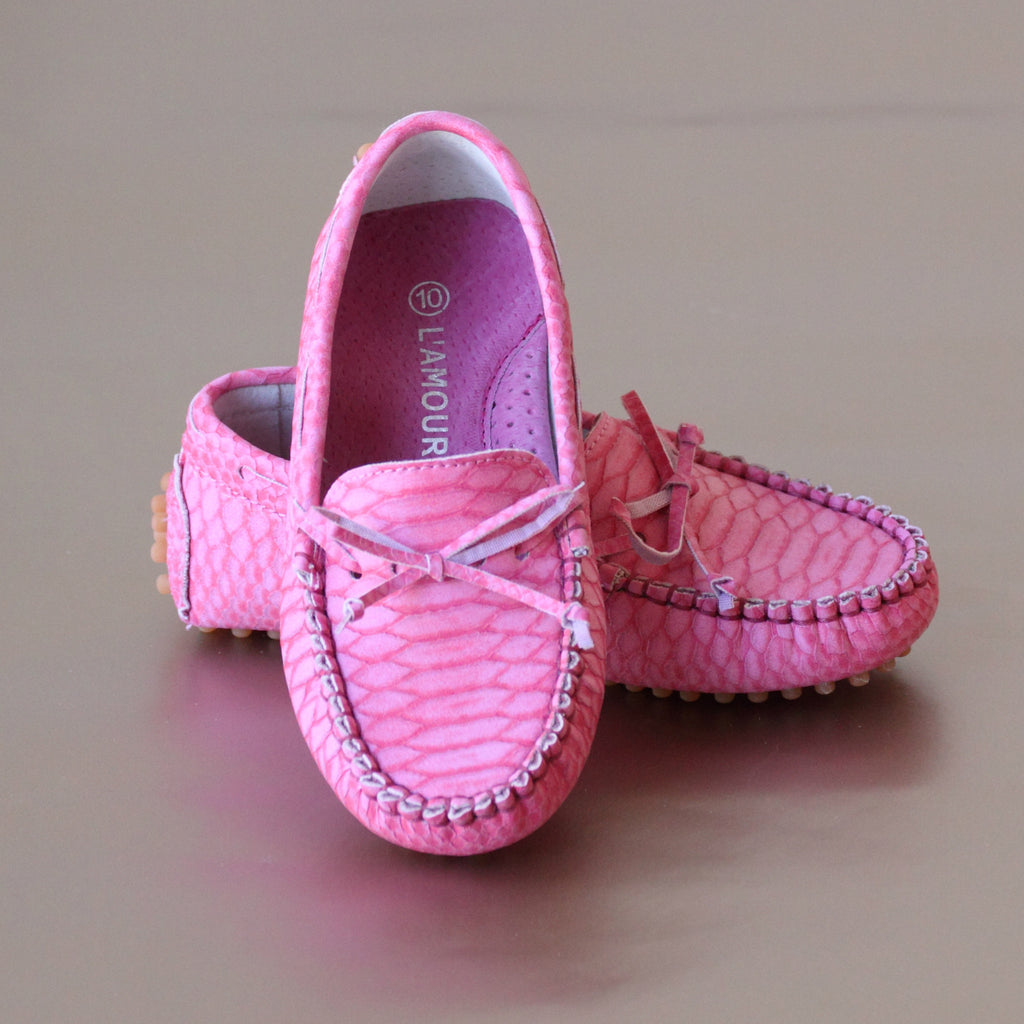 L'Amour Girls Fuchsia Leather Bow Moccasin