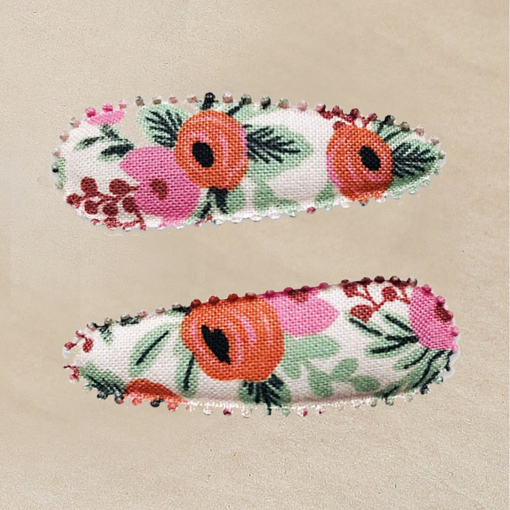 Marni Red Floral Hair Snap Clip - Rifle Paper Co Fabric - Petitfoot.com