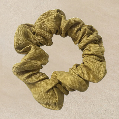 Lime Linen Scrunchie