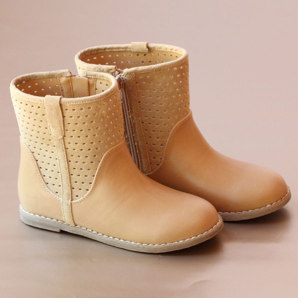 L'Amour Girls Sand Perforated Ankle Boot