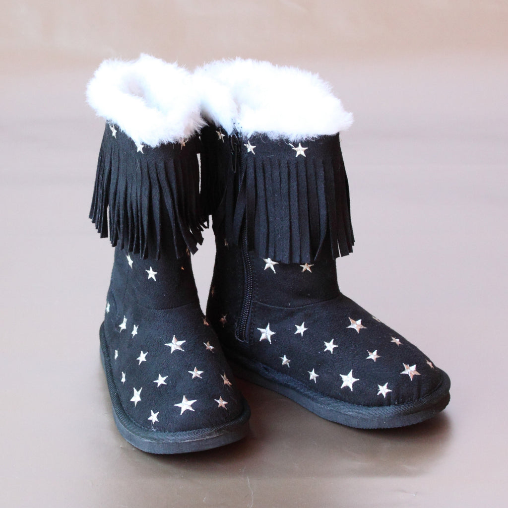 L'Amour Girls Star Embroidered Black Fringe Boot