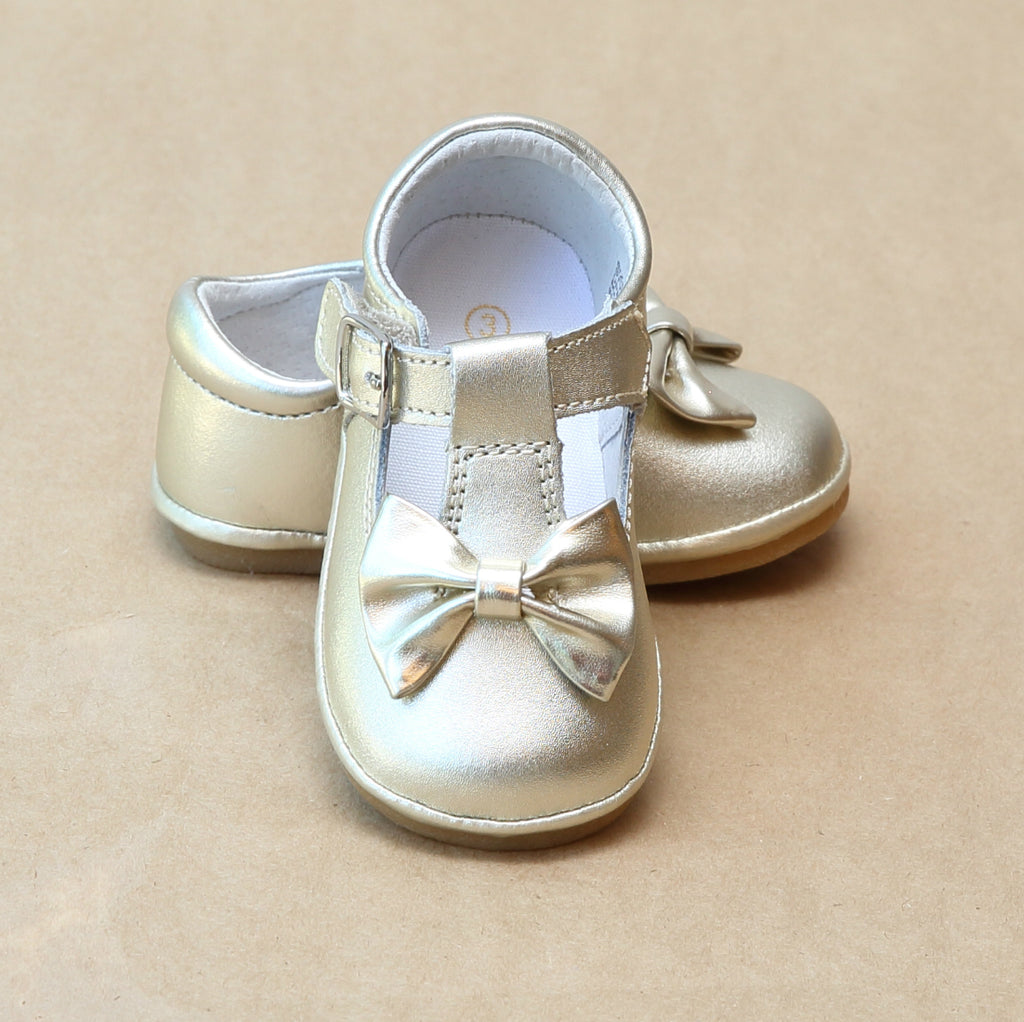 Angel Baby Girls Gold Leather Minnie Bow T-Strap Mary Jane - Petitfoot.com