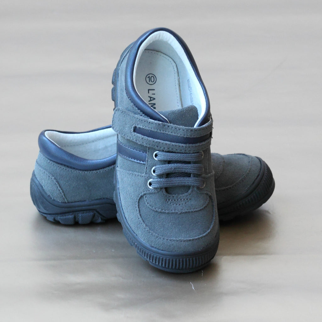 L'Amour Boys Gray Leather Sport Sneaker