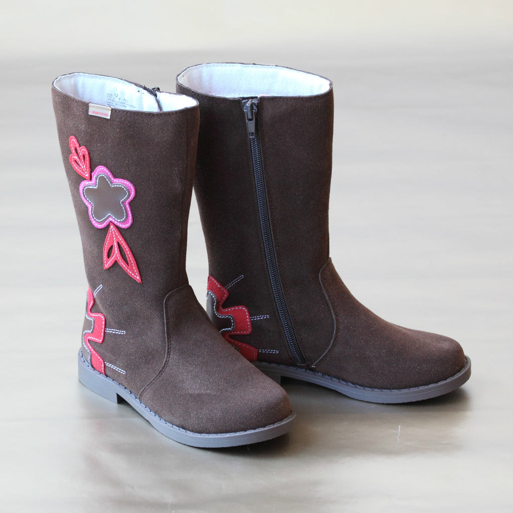 L'Amour Girls Brown Tall Flower Boot