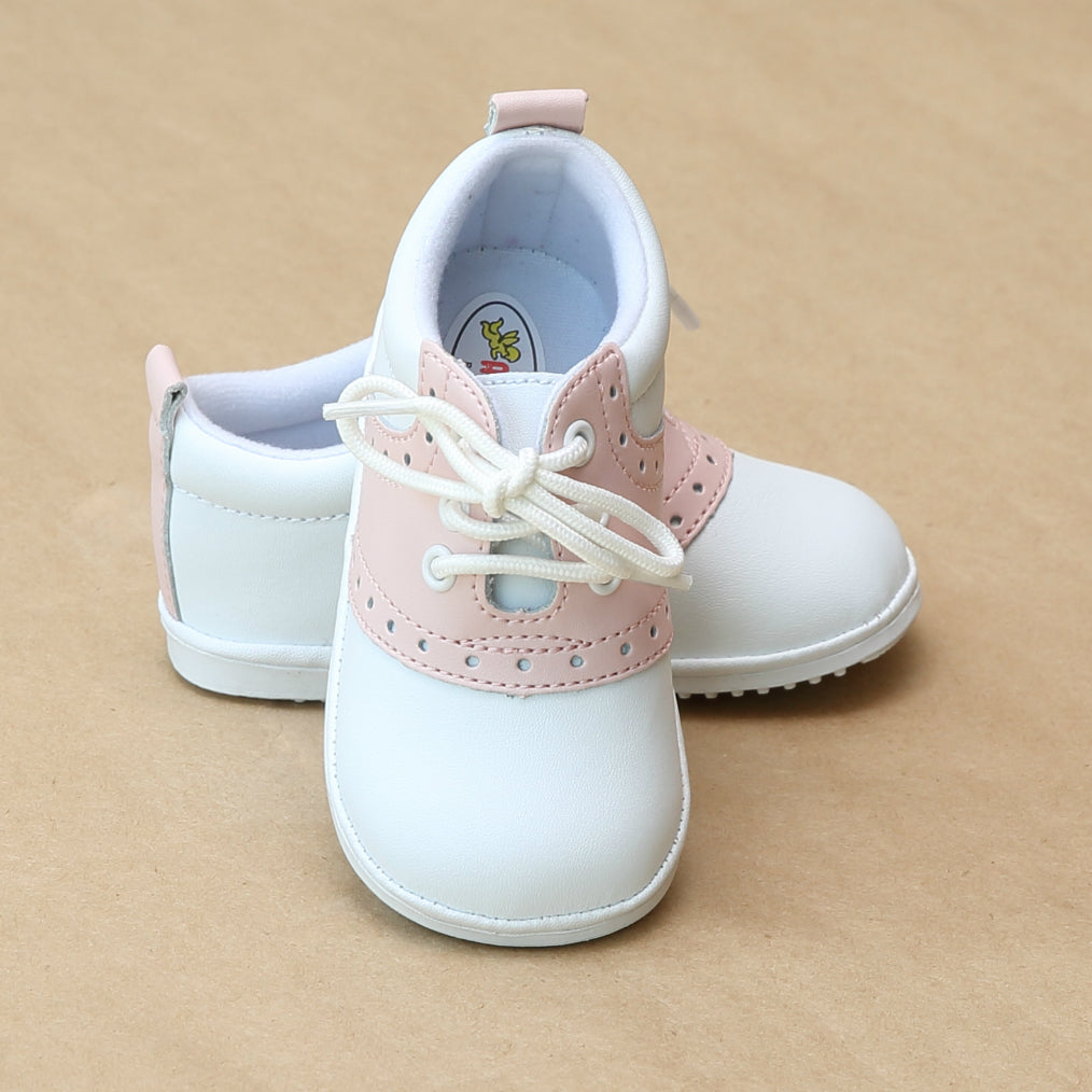 Angel Baby Girls Pink Leather Saddle Oxford Lace Up Shoe - Petit Foot