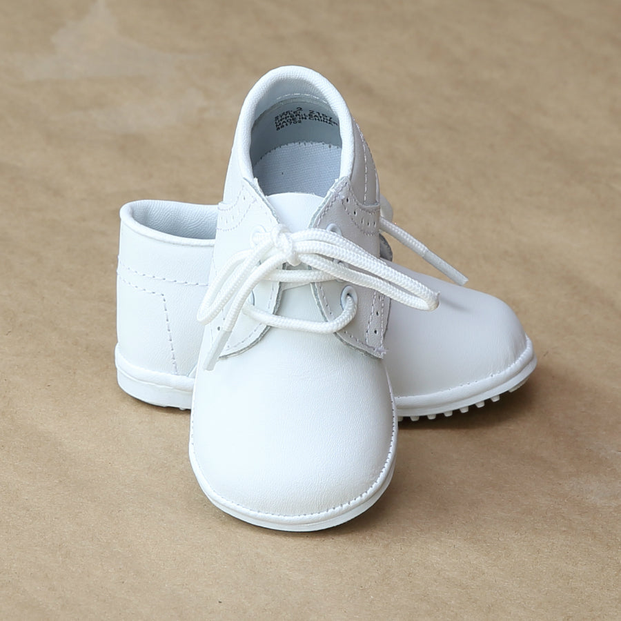 Angel Baby Boys White Classic Leather Lace Ups - Petitfoot.com