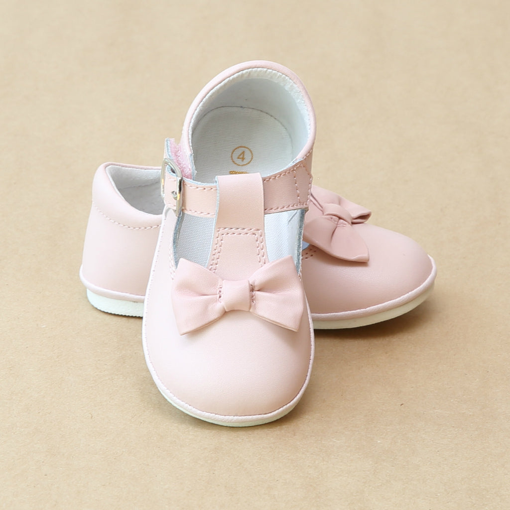 Angel Baby Girls Pink Minnie Classic T-Strap Bow Mary Jane - Petitfoot.com