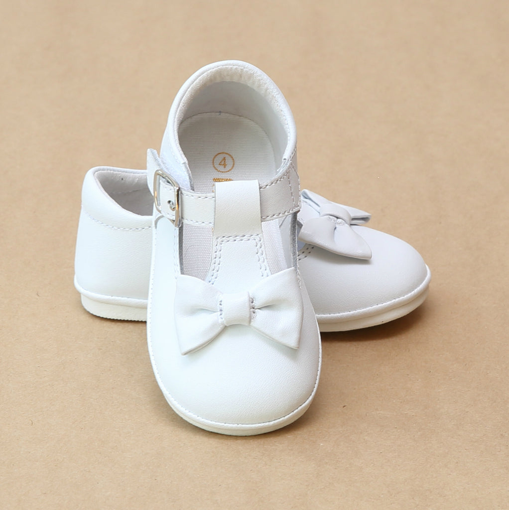 Angel Baby Girls White Minnie Classic T-Strap Bow Mary Jane - Petitfoot.com