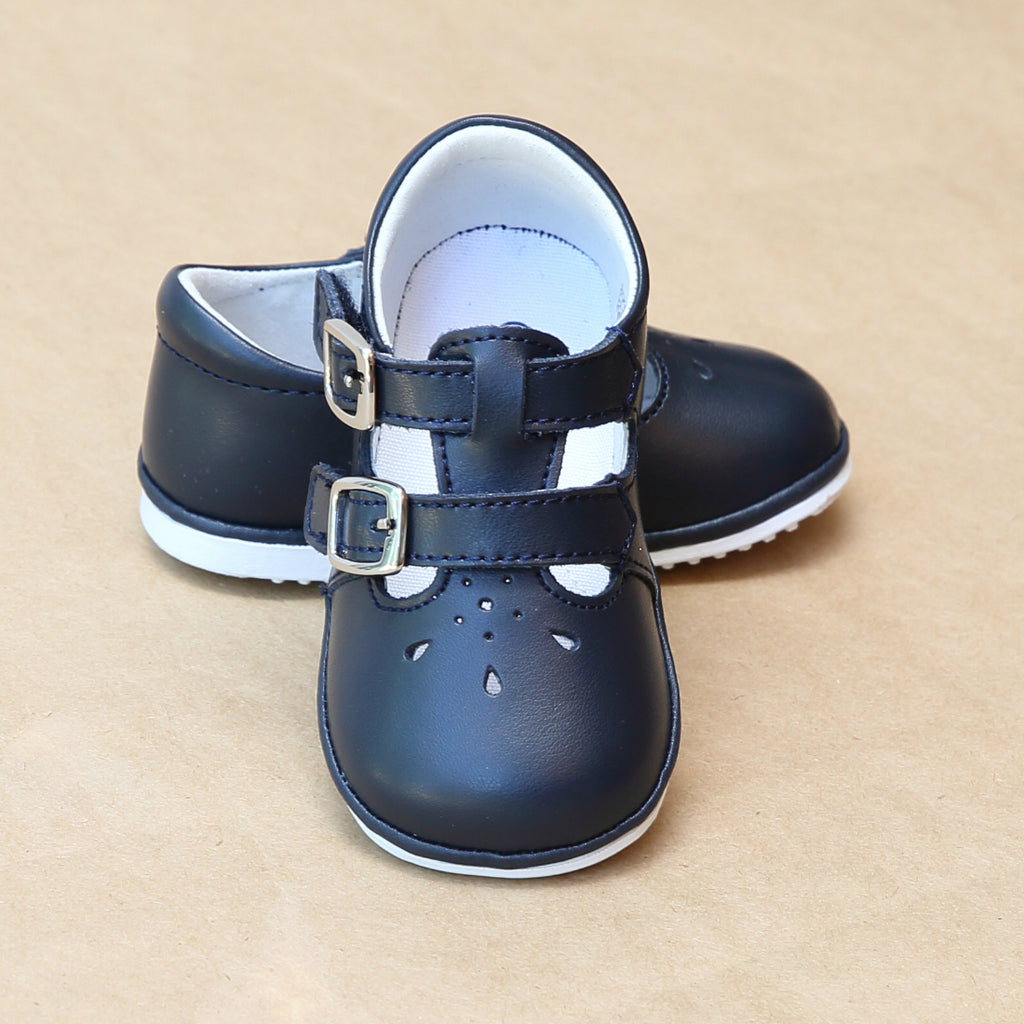 Angel Baby Girls Double Buckle Navy Mary Janes - Petit Foot