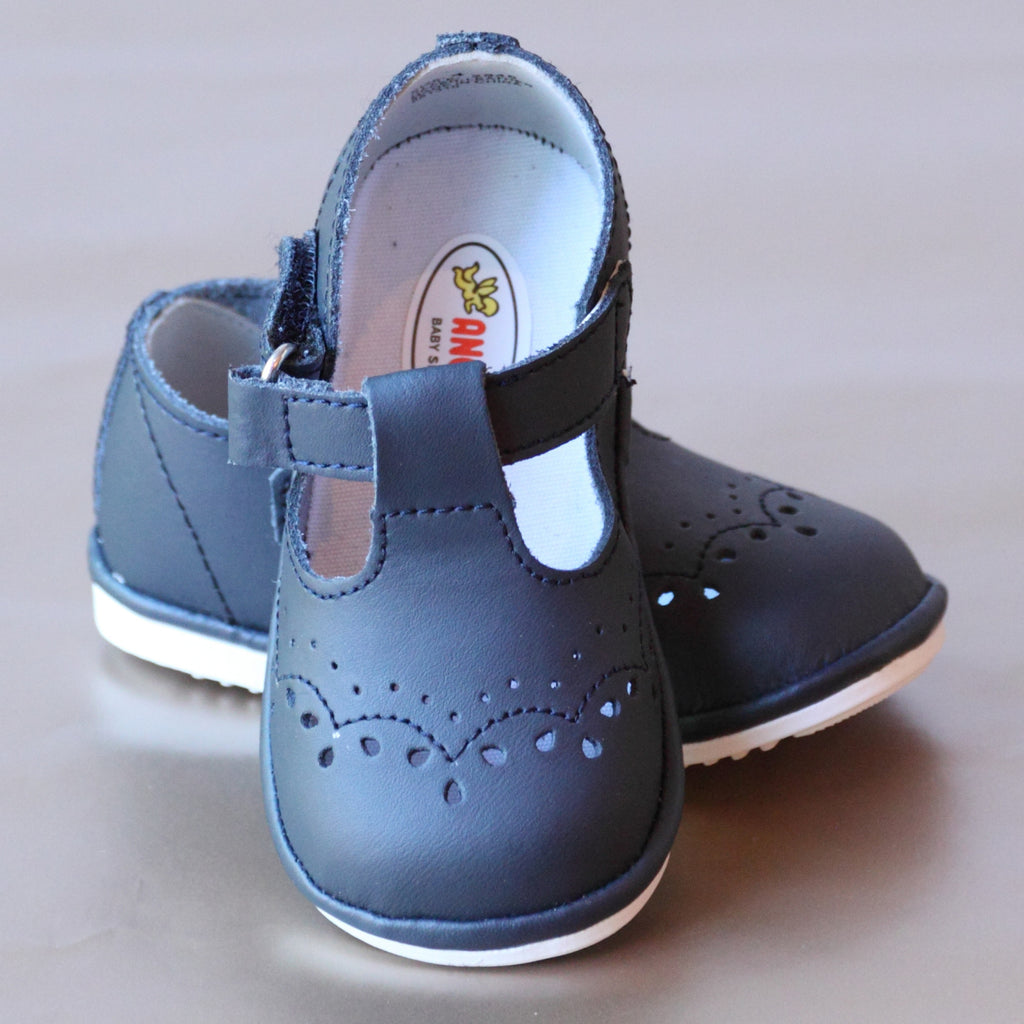 Angel Baby Girls T-Strap Navy Leather Mary Janes