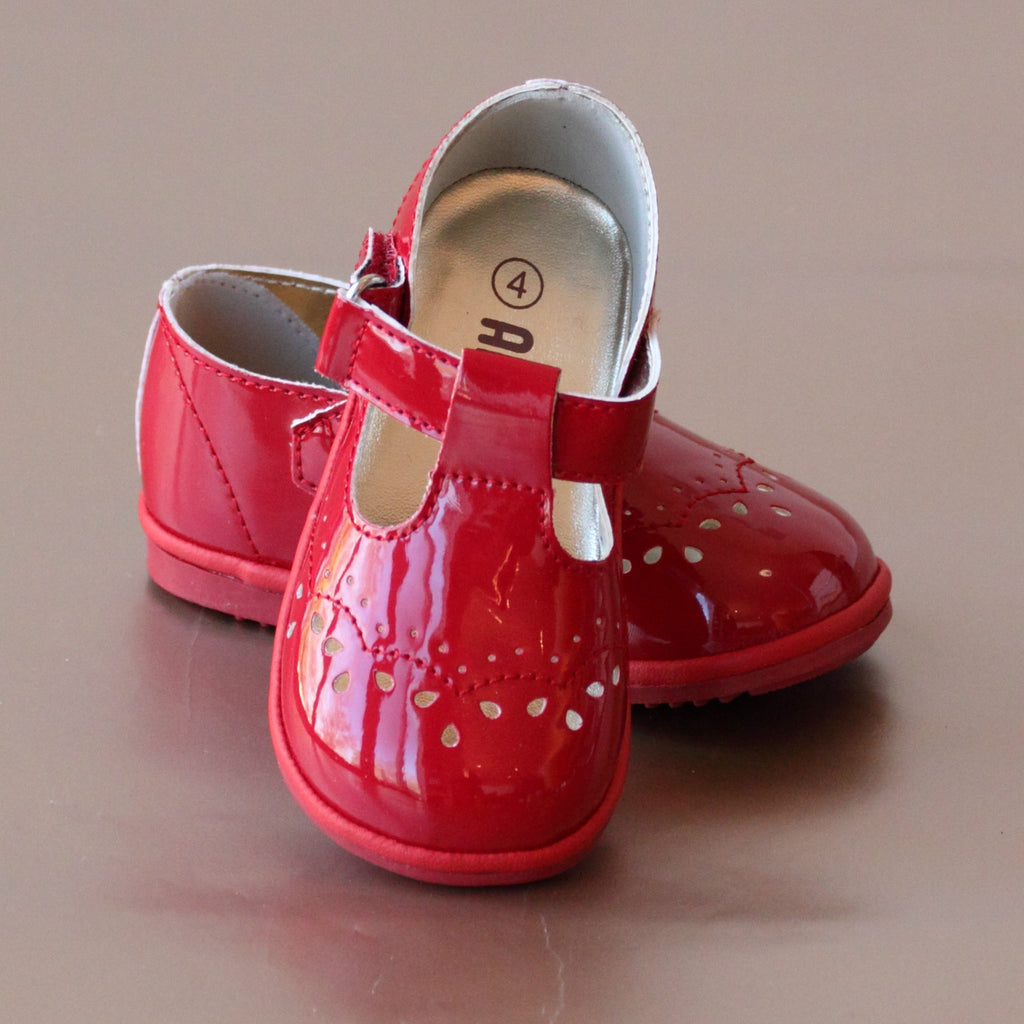 Angel Baby Girls Patent Red T-Strap Mary Janes