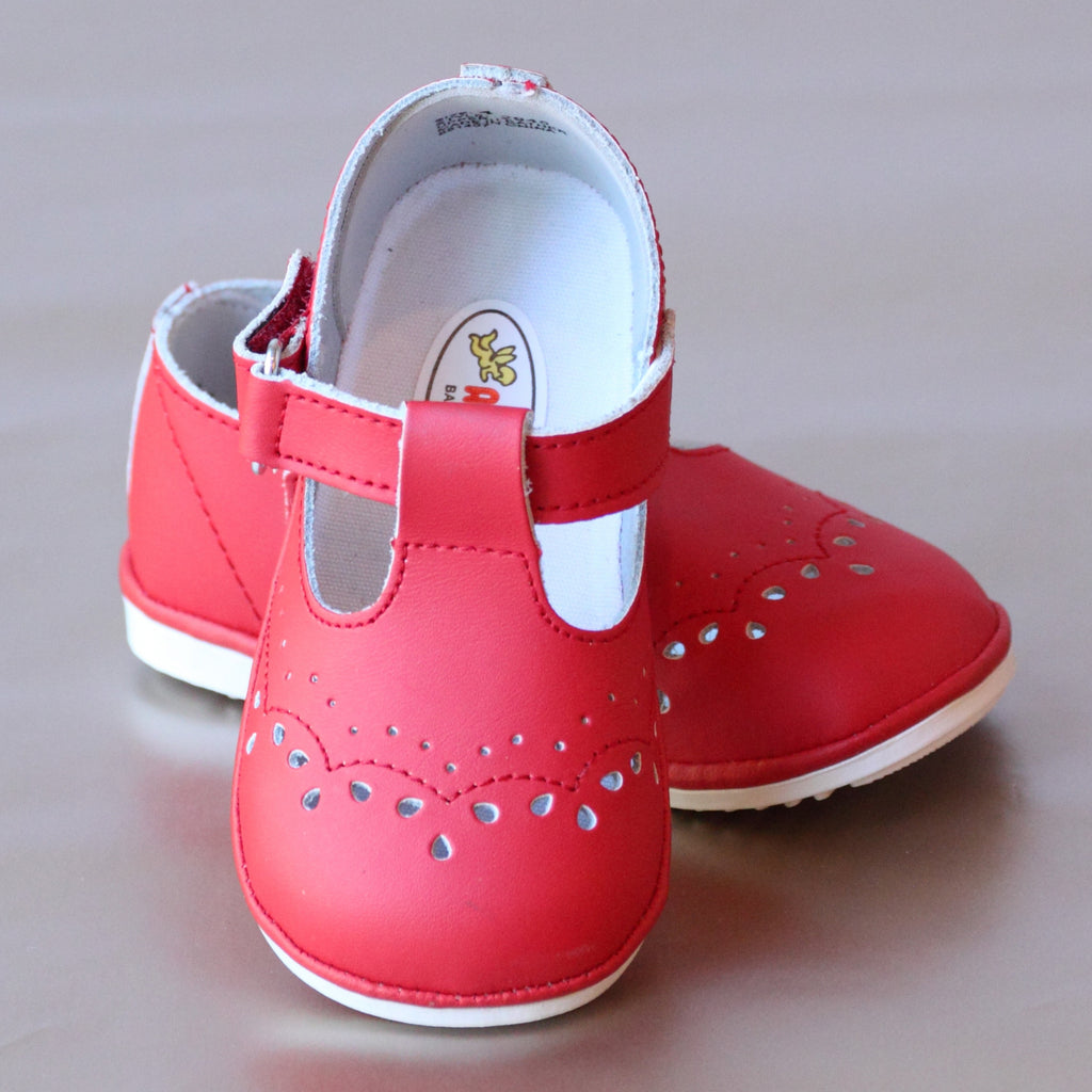 Angel Baby Girls Red T-Strap Leather Mary Janes