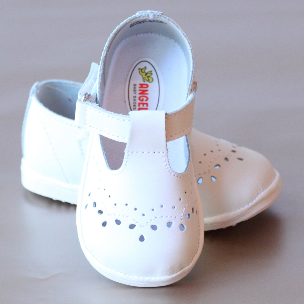 Angel Baby Girls T-Strap White Leather Mary Janes