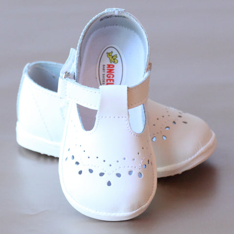 Angel Baby Girls T-Strap Leather Mary Janes