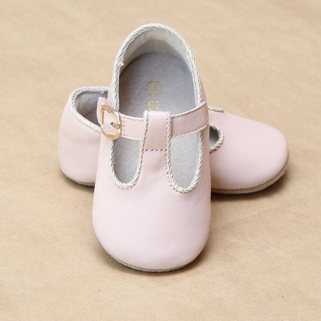 L'Amour Infant Girls Evie T-Strap Pink Napa Leather Crib Mary Jane - PetitFoot.com