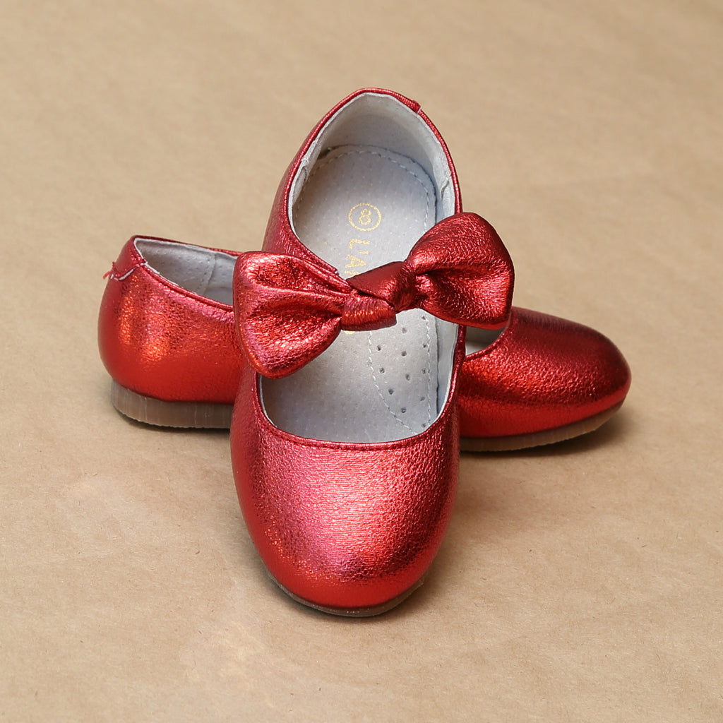 Toddler Girls Celia Crinkled Red Metallic Knotted Bow Flat - Petit Foot