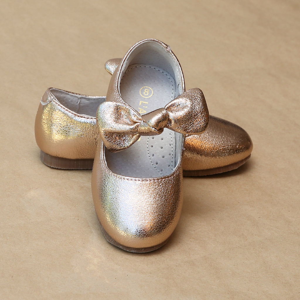 Toddler Girls Celia Crinkled Rosegold Metallic Knotted Bow Flat - Petit Foot