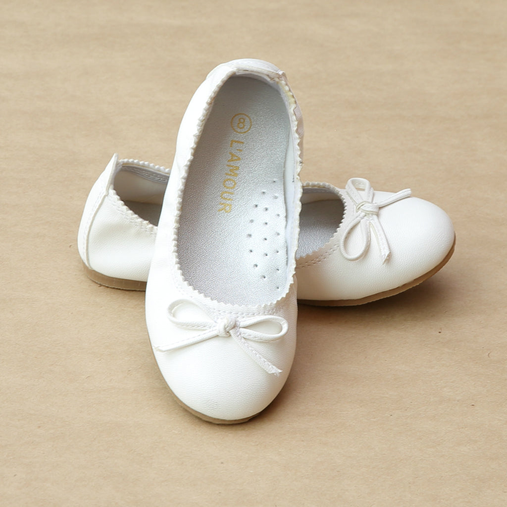 L'Amour Girls White Elastic Leather Ballet Flat - Petitfoot.com