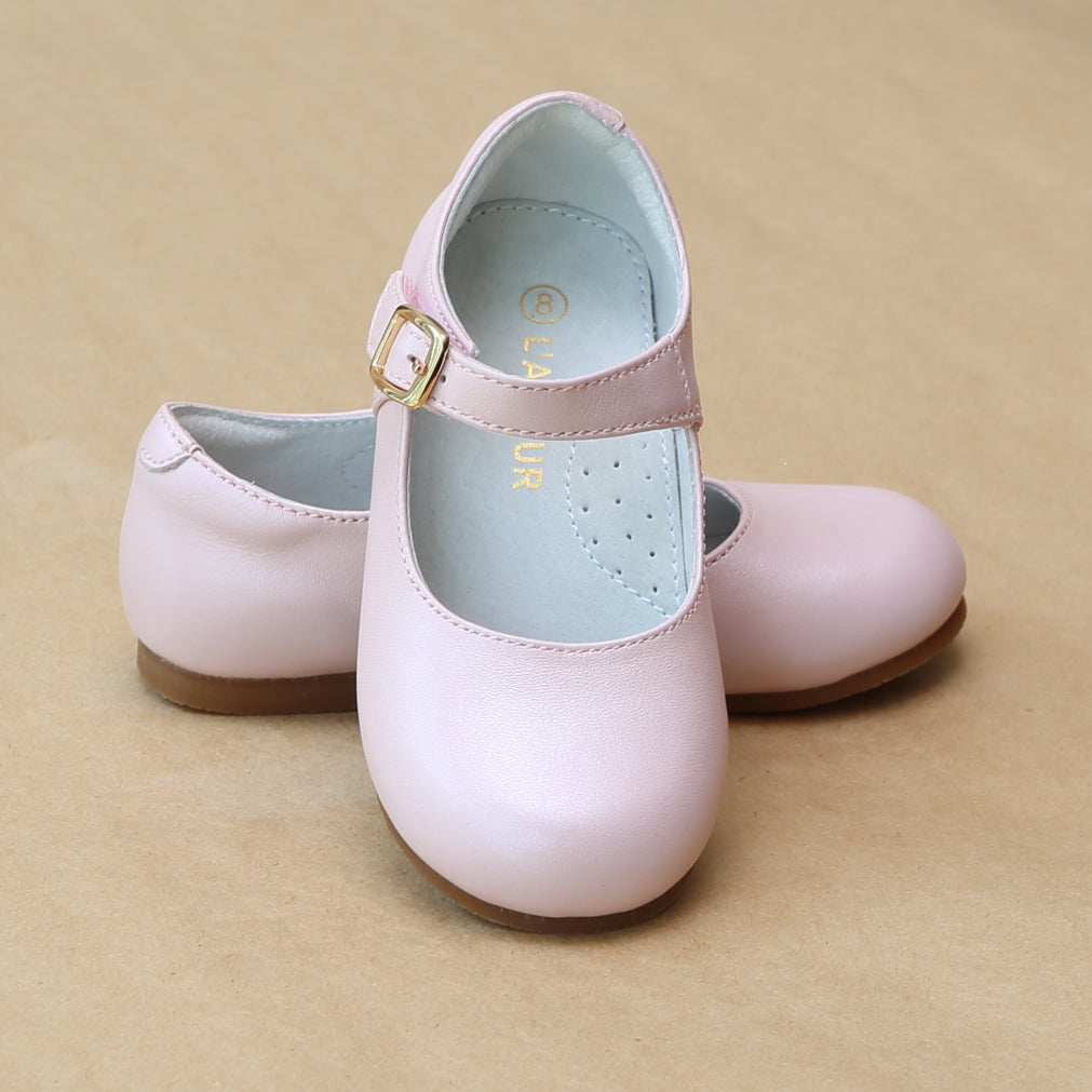 L'Amour Girls Rebecca Pearlized Pink Leather Dressy Flat - Petitfoot.com