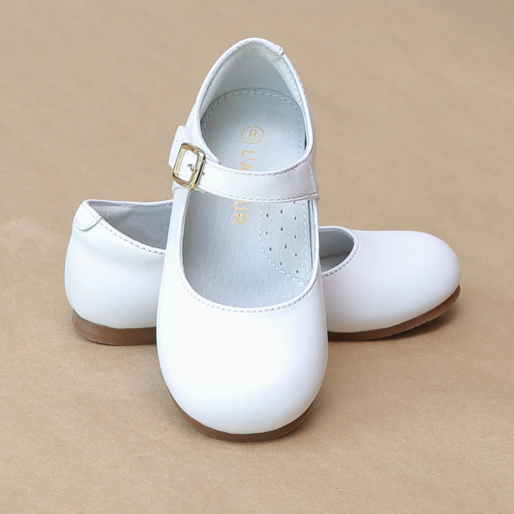 L'Amour Girls Rebecca Pearlized White Leather Dressy Flat - Petitfoot.com