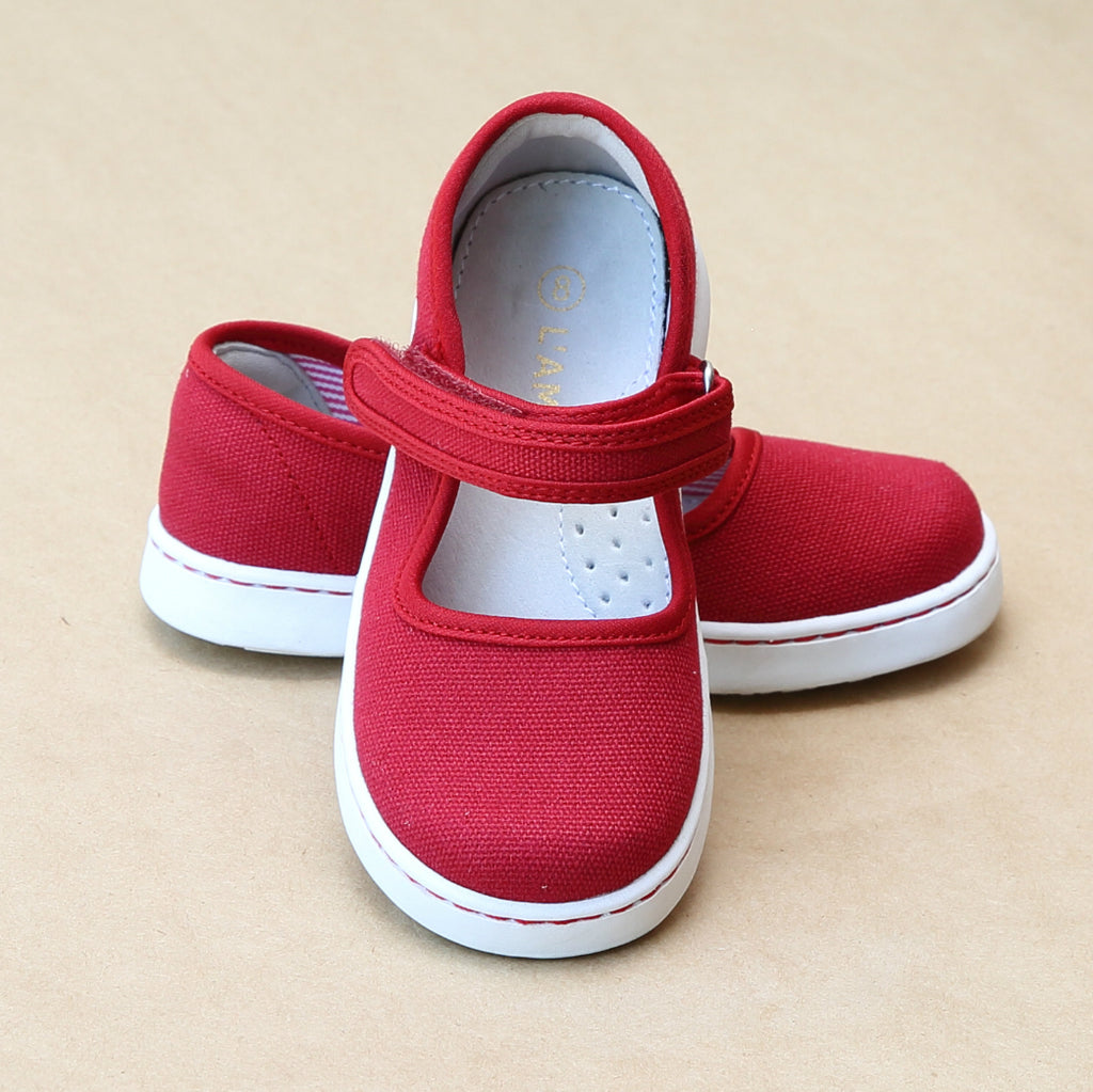 L'Amour Girls Jenna Red Playground Canvas Mary Janes - Petitfoot.com