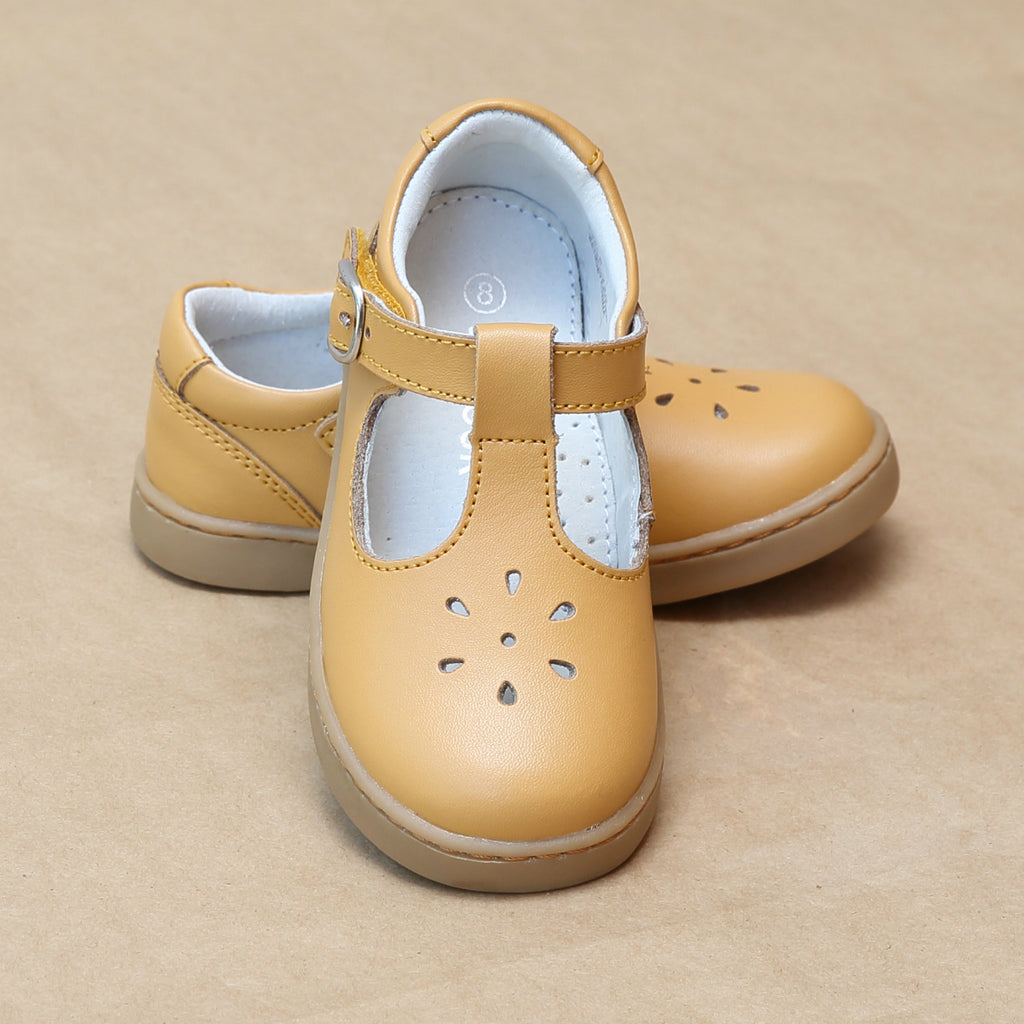 L'Amour Girls Chelsea Playground T-Strap Mustard Leather Mary Janes - Petit Foot