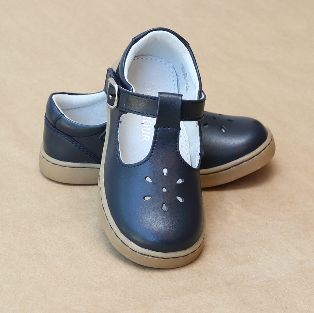 L'Amour Girls Chelsea Playground T-Strap Navy Leather Mary Janes - Petit Foot