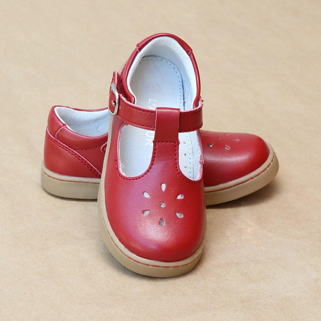 L'Amour Girls Chelsea Playground T-Strap Red Leather Mary Janes - Petit Foot