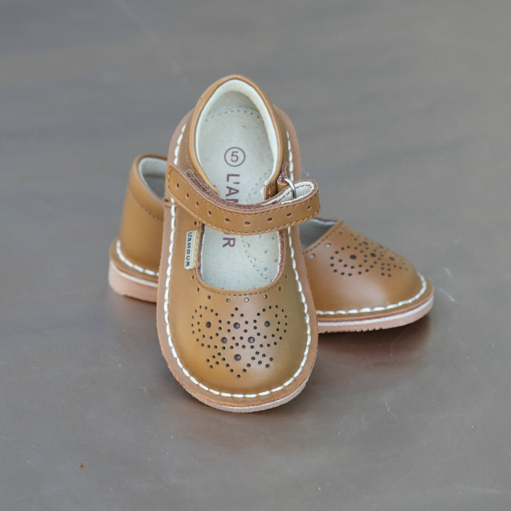 e97b2a9572765 L Amour Girls Brown Perforated Pattern Toe and Strap Stitch Down Mary Jane